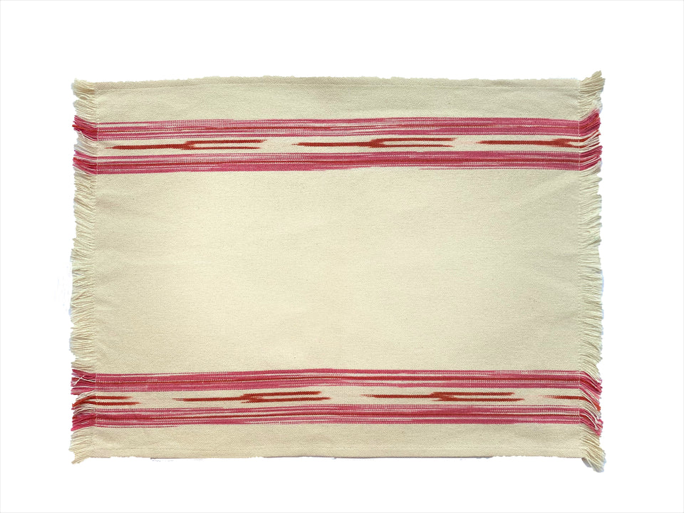 FABRIC PLACEMAT - CREAM WITH PINK IKAT STRIPE