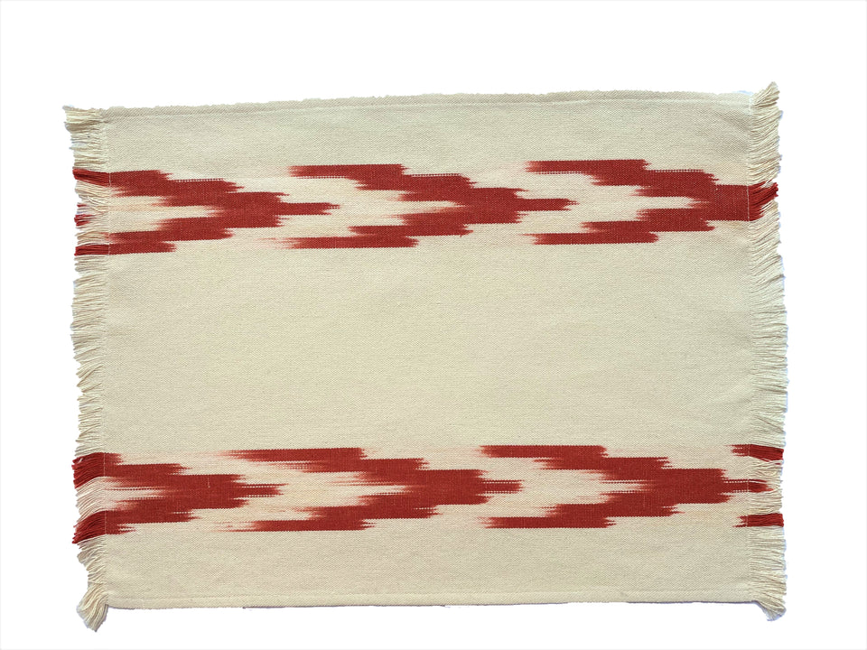FABRIC PLACEMAT - CREAM WITH TERRACOTA IKAT CHEVRON