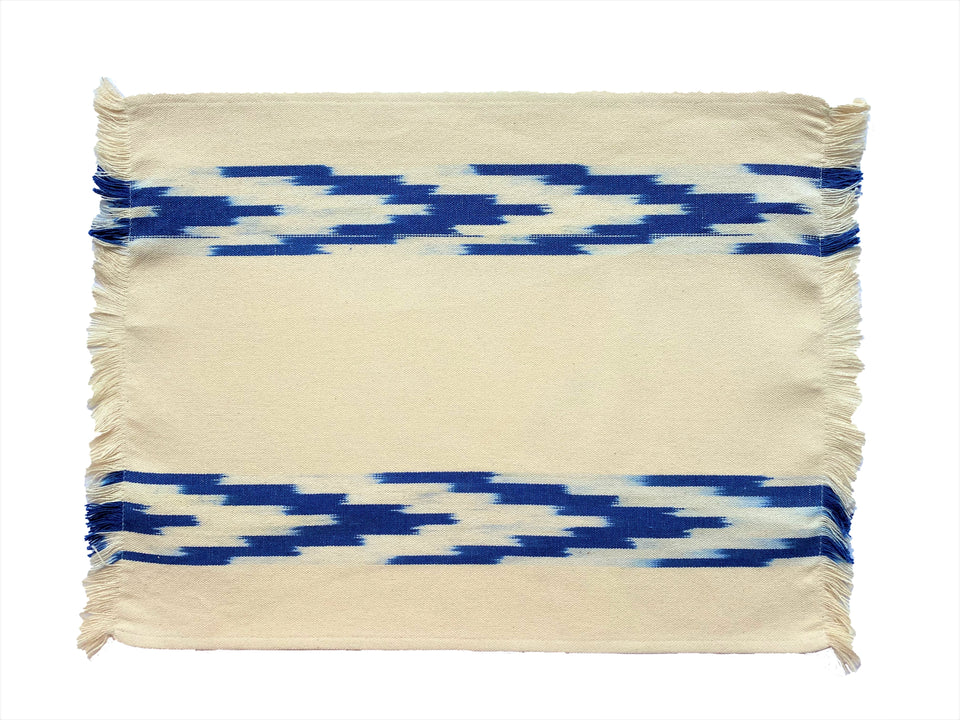 FABRIC PLACEMAT - CREAM WITH BLUE IKAT CHEVRON
