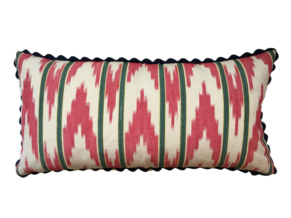 MALLORCAN FABRIC CUSHION - GREEN STRIPE WITH RED ZIGZAG FABRIC WITH NAVY SCALLOP EDGING