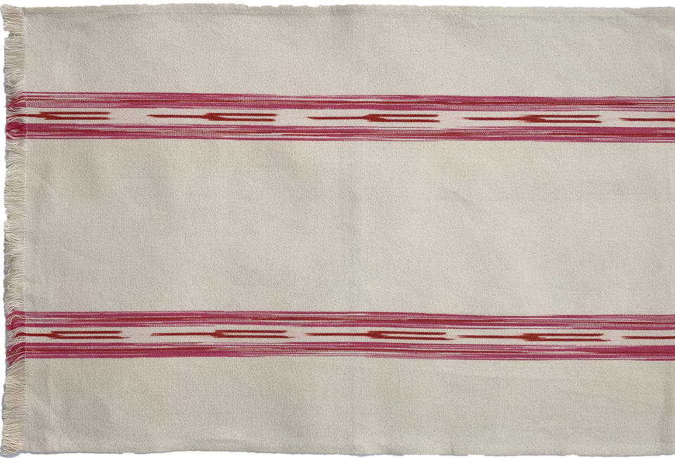 TABLE-RUNNER - CREAM WITH PINK IKAT STRIPE