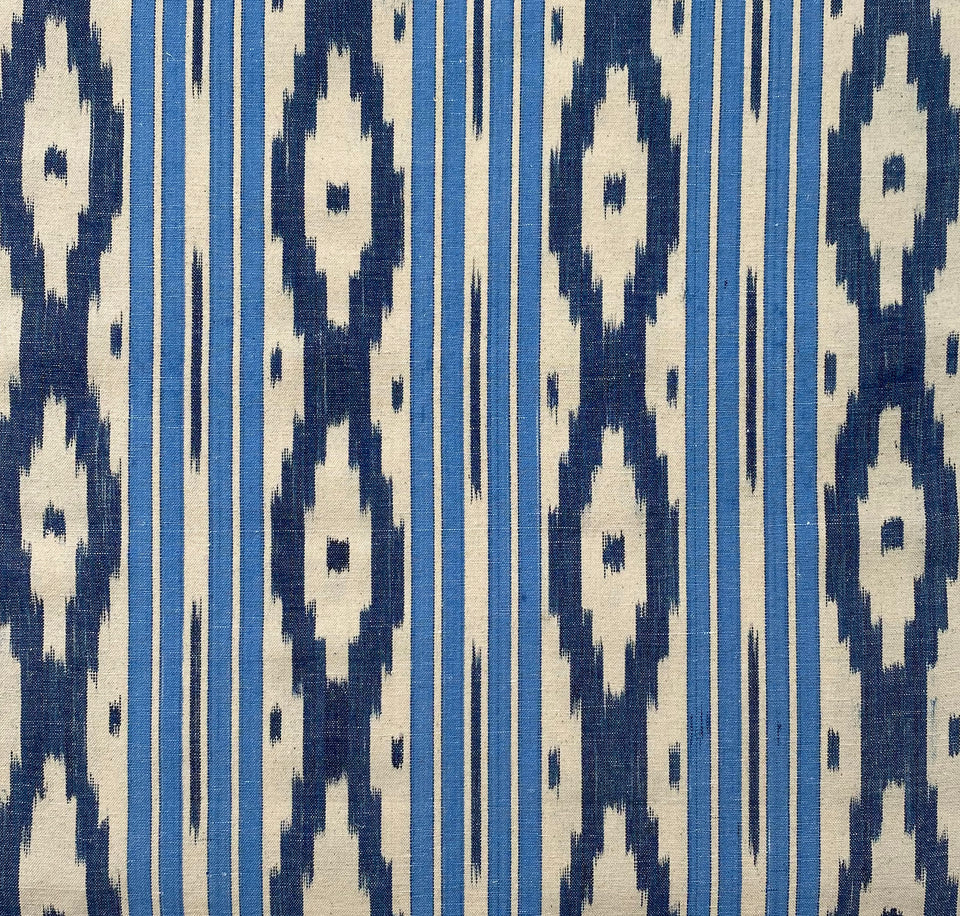 BUJOSA FABRIC - SKY BLUE WIDE STRIPE WITH INDIGO CHEVRON