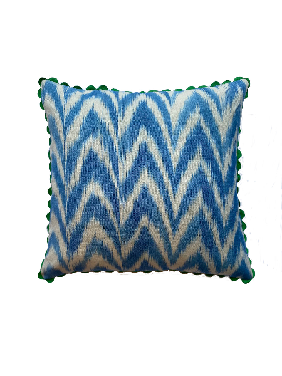 MALLORCAN FABRIC CUSHION - SKY BLUE FLAMESTITCH WITH GREEN SCALLOP EDGING