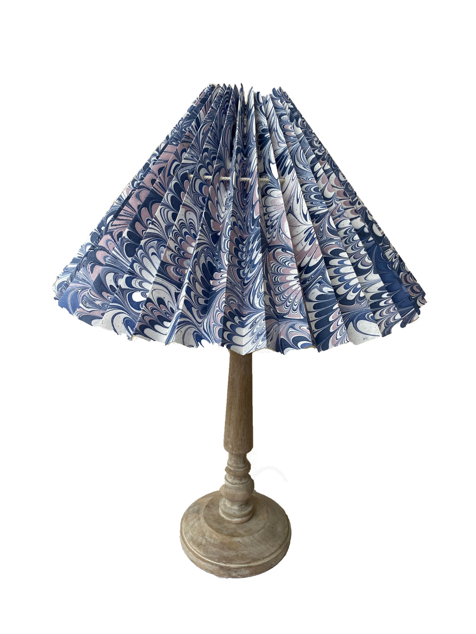 HANDMADE MARBELED PAPER LAMPSHADE IN BLUE, PINK AND WHITE