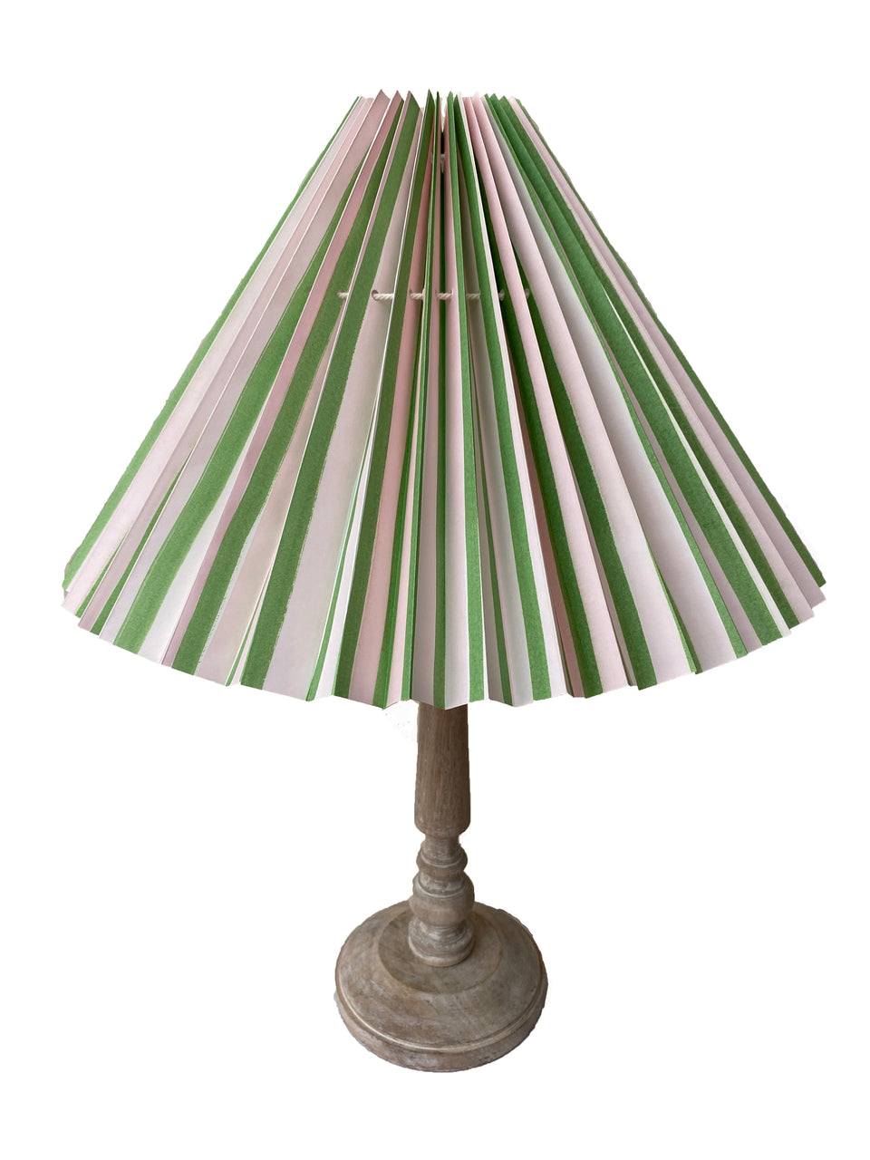 HANDMADE PAPER LAMPSHADE IN GREEN AND PALE PINK STRIPE