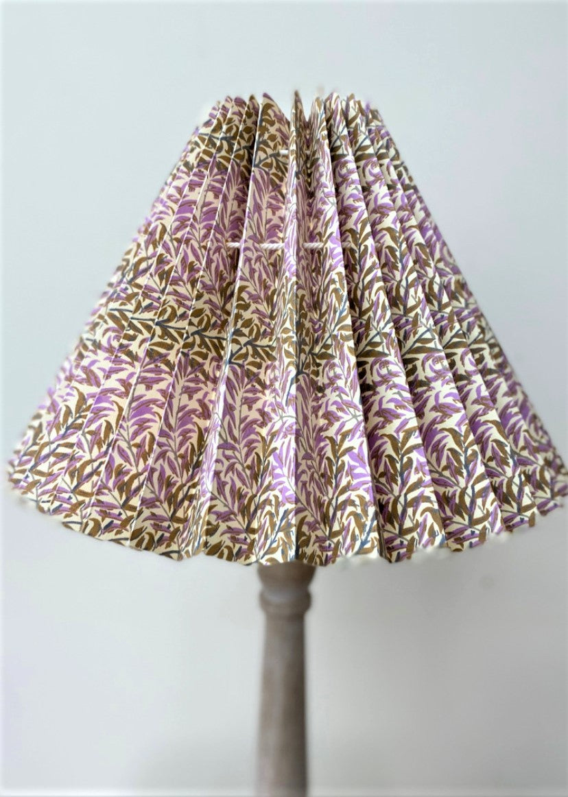 HANDMADE PAPER LAMPSHADE IN HEATHER GOLD