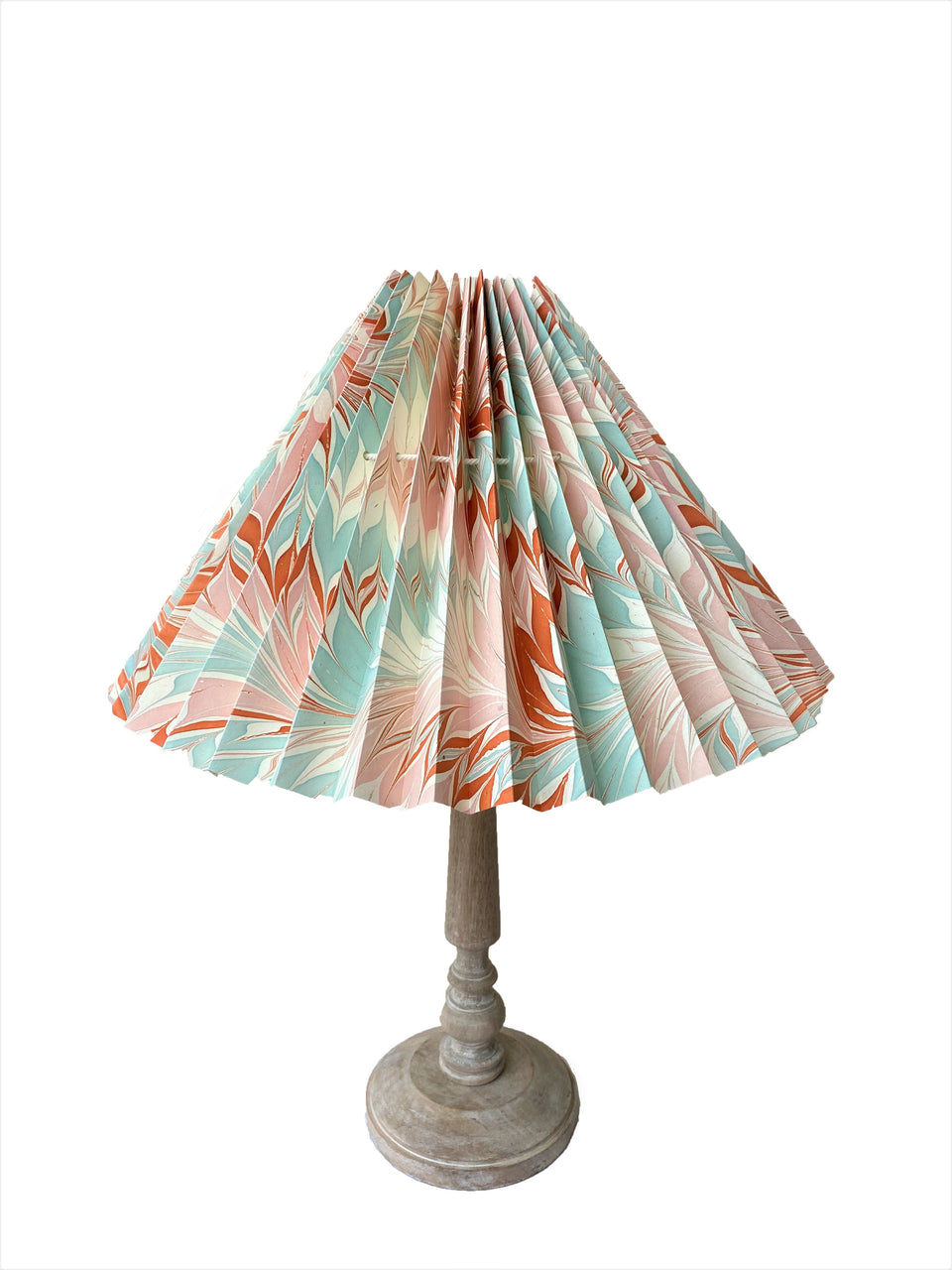 HANDMADE PAPER LAMPSHADE IN PALE BLUE AND ORANGE MARBLE