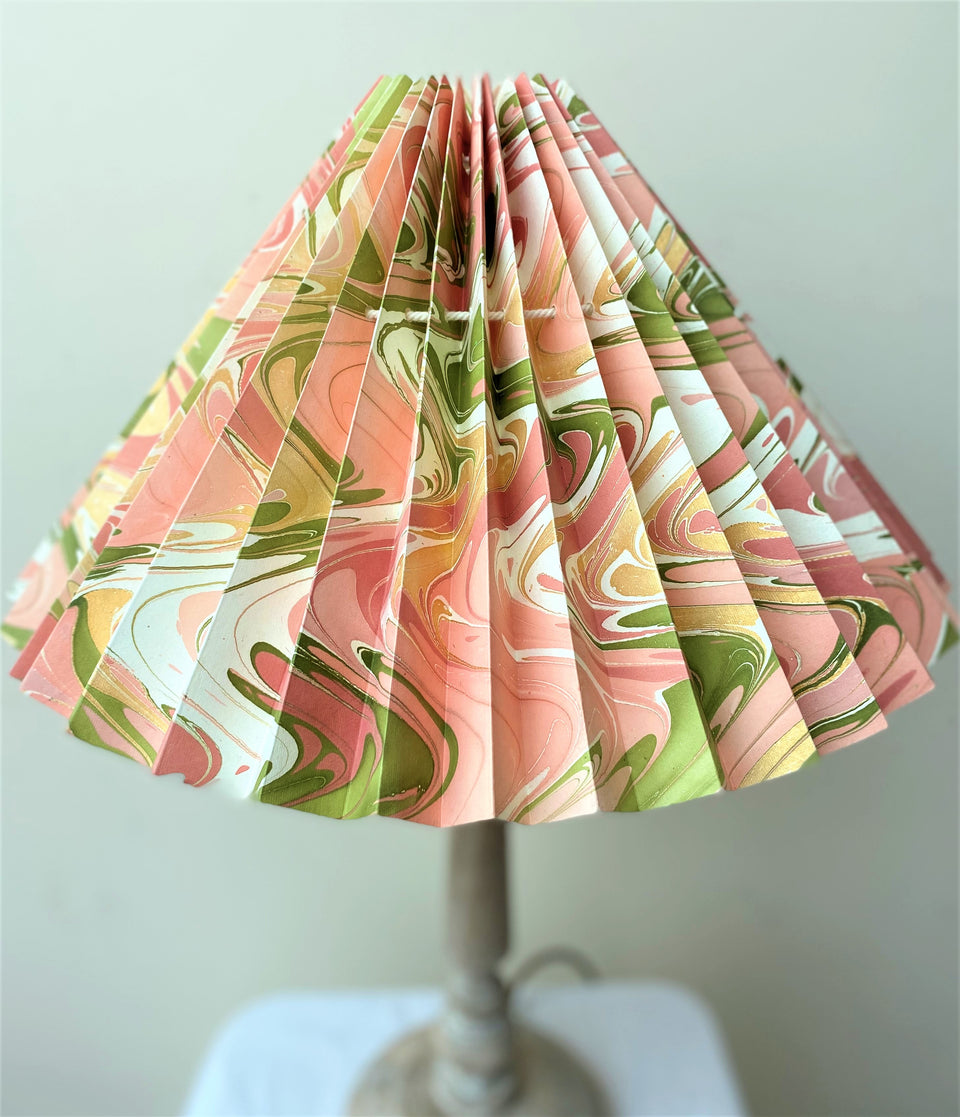 HANDMADE PAPER LAMPSHADE IN PEACHY PINK & GREEN MARBLE