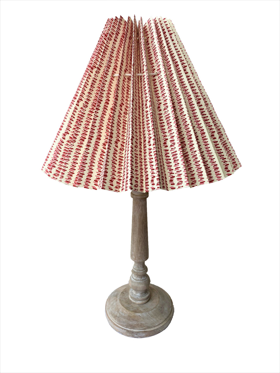 HANDMADE PAPER LAMPSHADE IN PINK AND RED DASH LINES