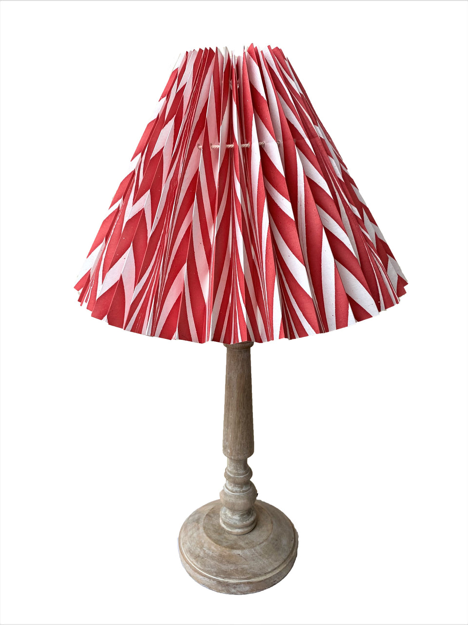 HANDMADE PAPER LAMPSHADE IN BRIGHT RED AND WHITE CHEVRON