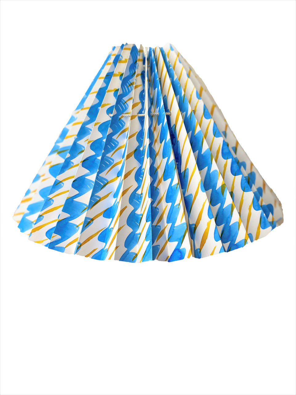 HANDMADE PAPER LAMPSHADE IN SKY BLUE AND YELLOW PEBBLE AND DASH