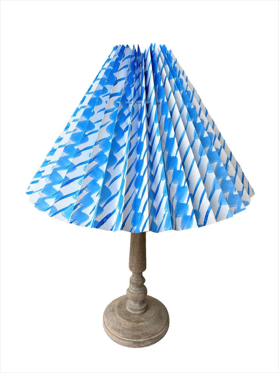 HANDMADE PAPER LAMPSHADE IN SKY BLUE PEBBLE AND DASH HANDPAINTED