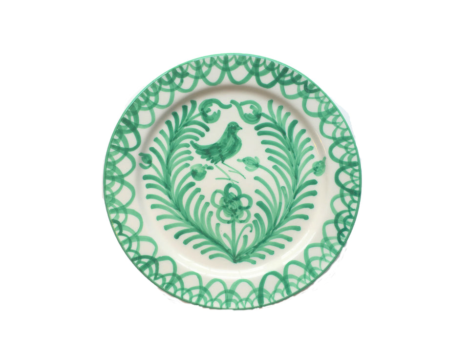 DINNER PLATE - GREEN BIRD DESIGN