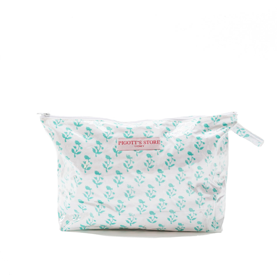 WASHBAG IN SMALL TREE FABRIC AQUA