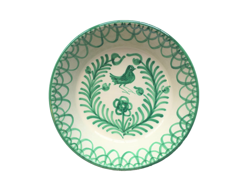 LARGE BOWL (LEBRILLO) -  GREEN BIRD DESIGN