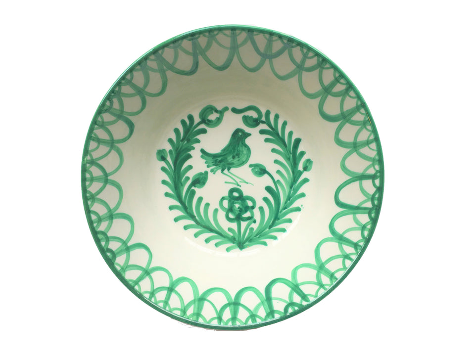 MEDIUM BOWL - GREEN BIRD DESIGN