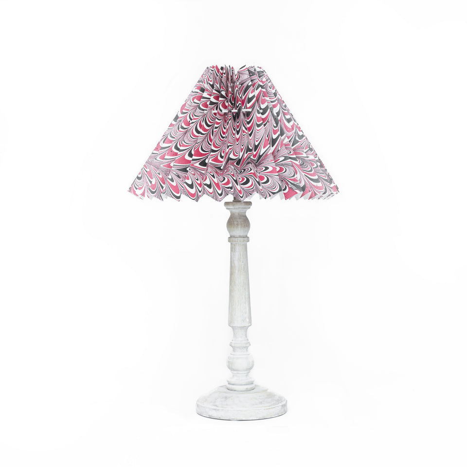 HANDMADE MARBLED PAPER LAMPSHADE IN RED, BLACK AND WHITE