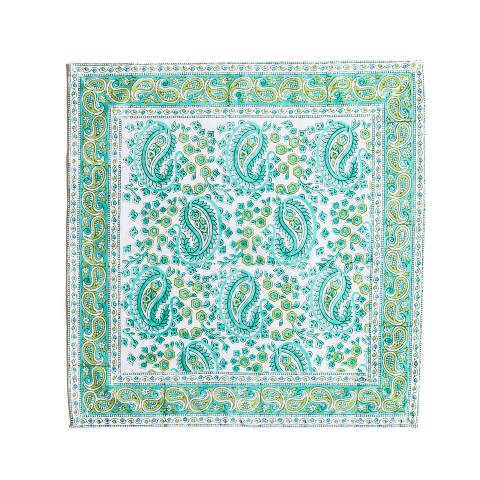 Block printed paisley patterned napkin