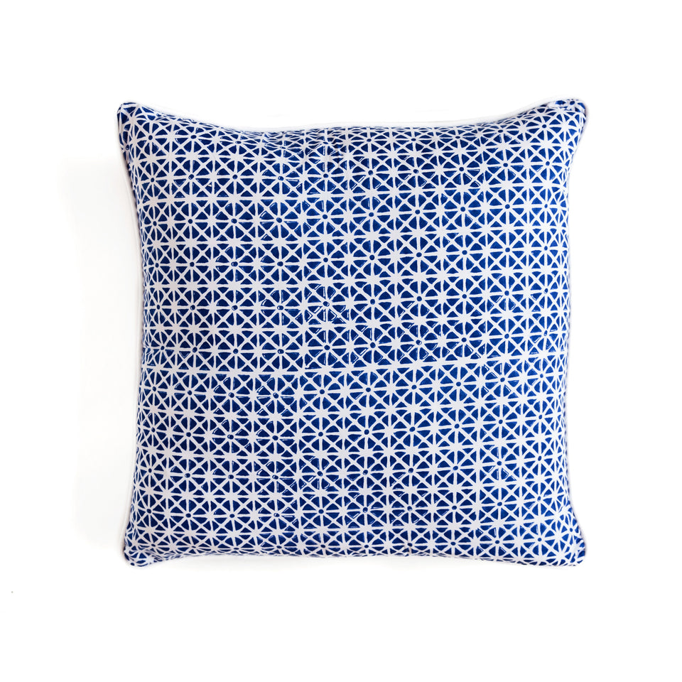 BLOCK PRINT CUSHION IN SUNFLOWER NAVY