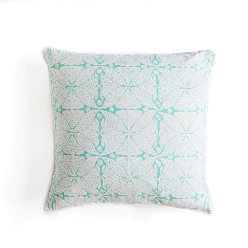 BLOCK PRINT CUSHION IN SQUARE-FLOWER AQUA