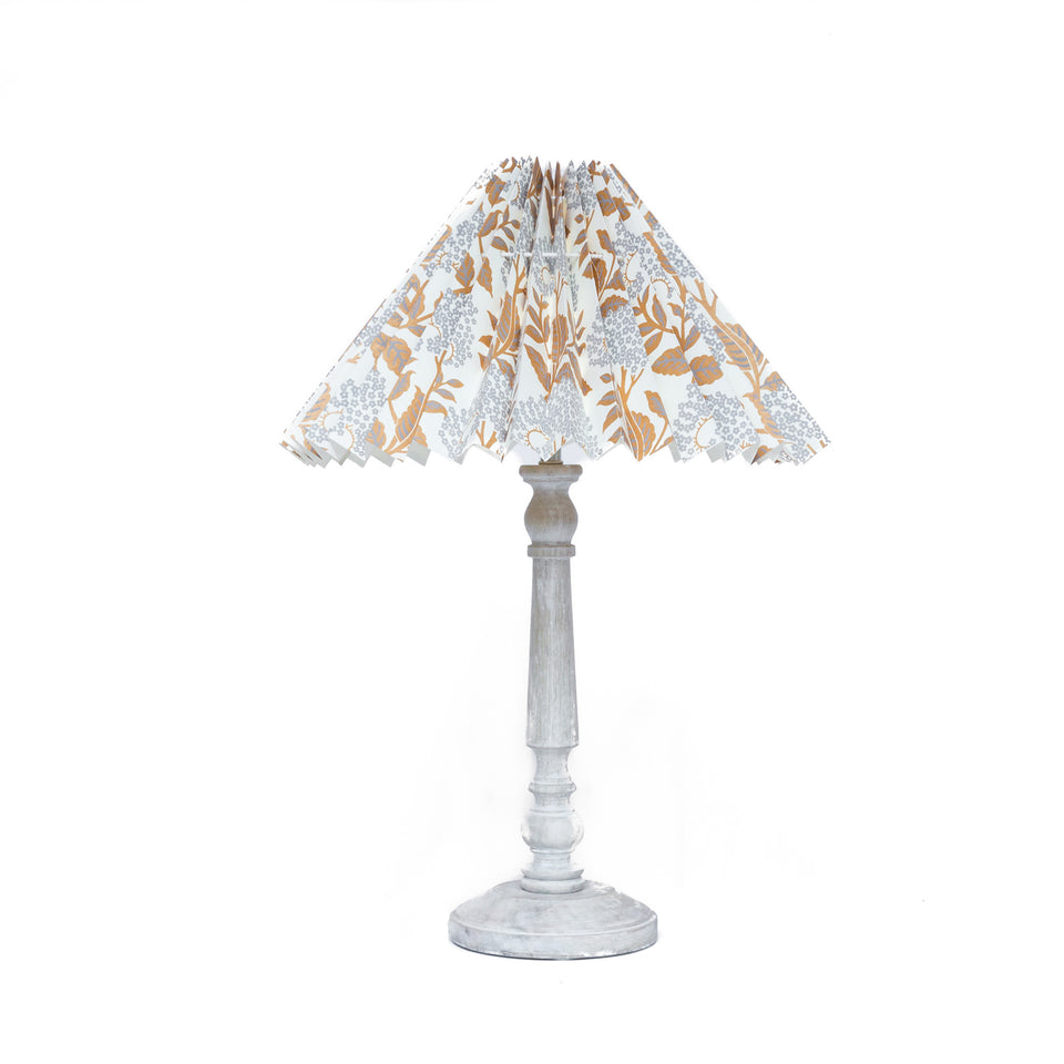 HANDMADE PLEATED PAPER LAMPSHADE WITH SILVER AND GOLD LEAF PATTERN