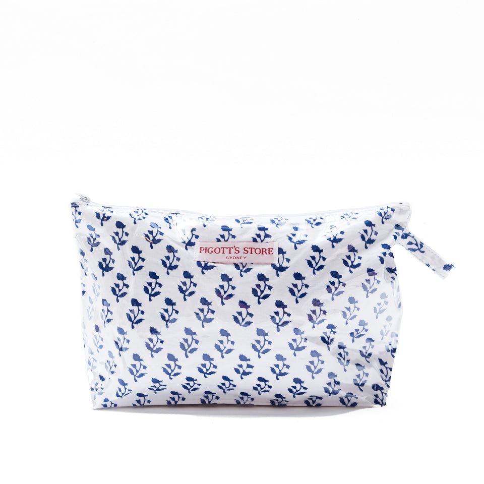 WASHBAG IN SMALL TREE FABRIC BLUE