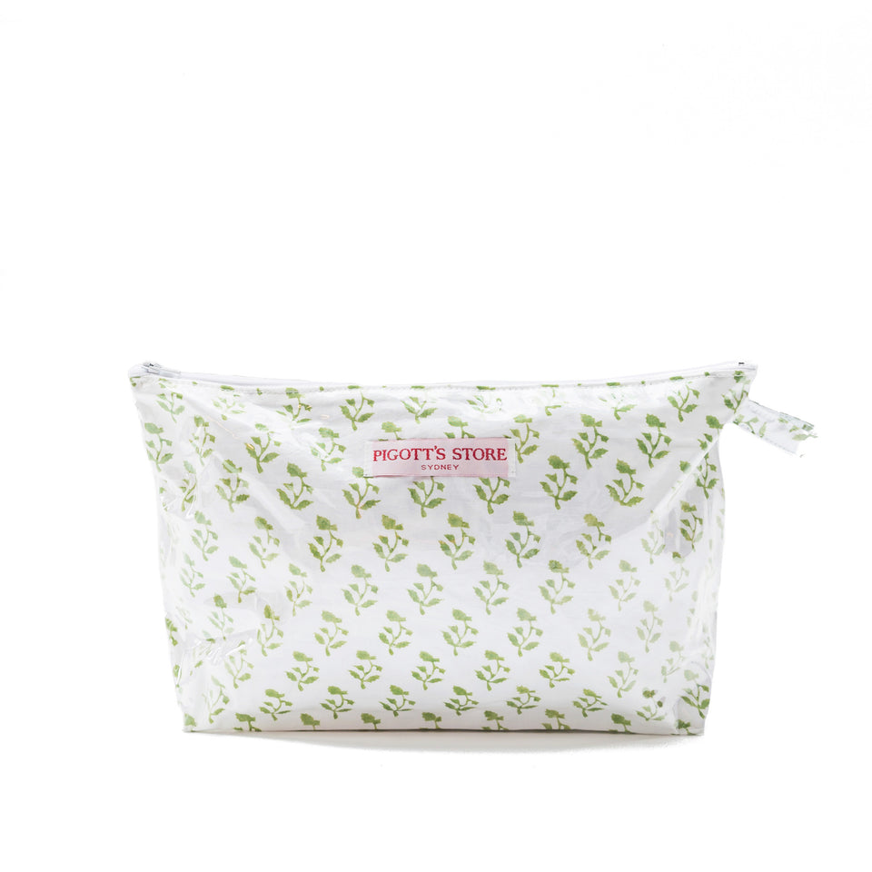 WASHBAG IN SMALL TREE FABRIC GREEN