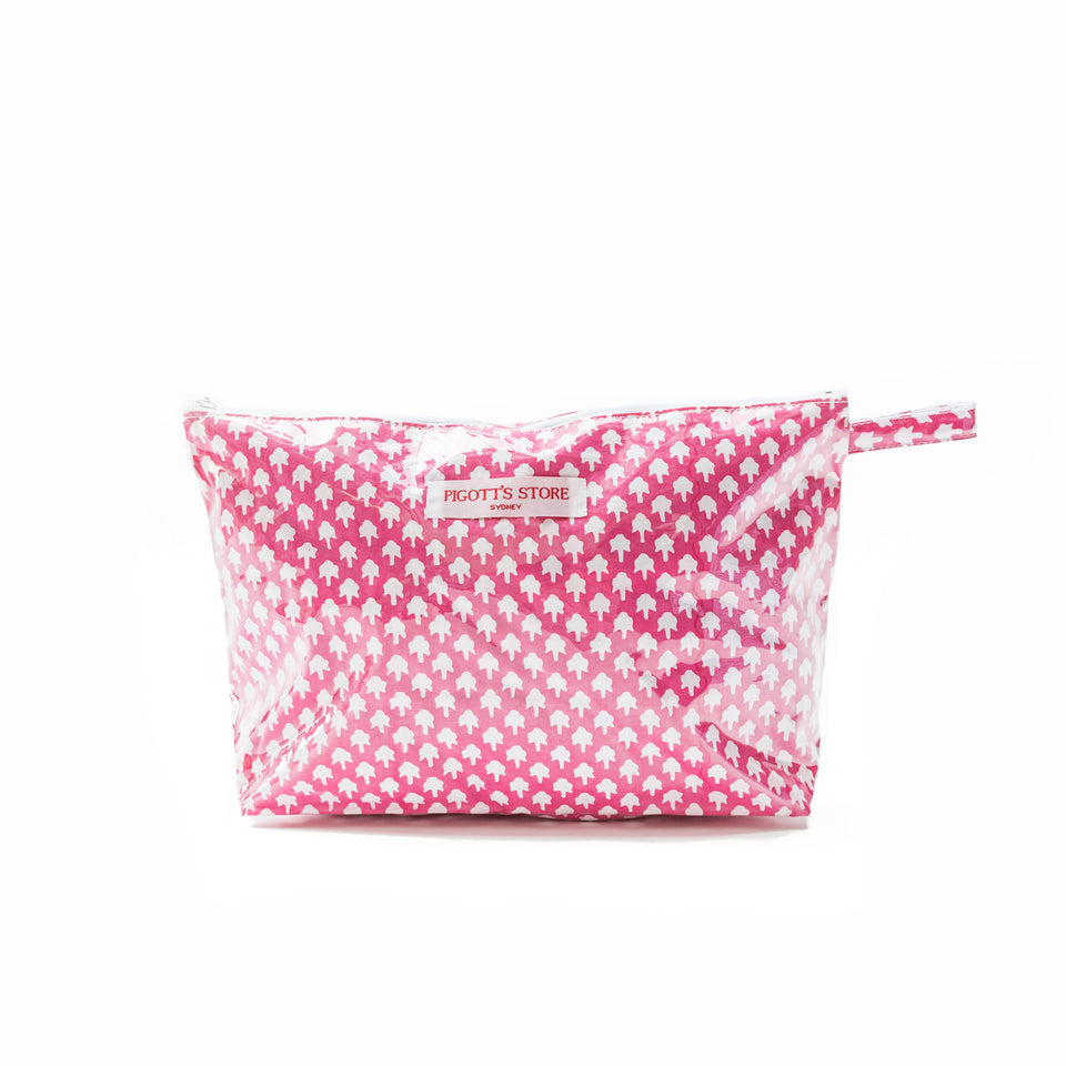 WASHBAG IN CHICKEN FEET FABRIC PINK