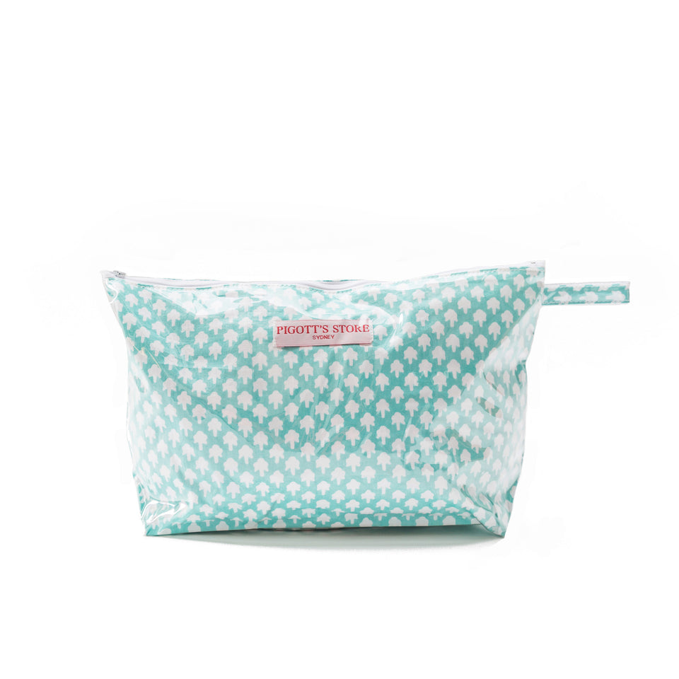 WASHBAG IN CHICKEN FEET FABRIC AQUA