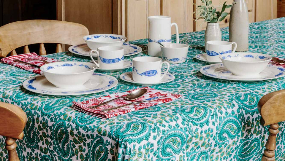 NEW PAISLEY TABLECLOTH IN GREEN