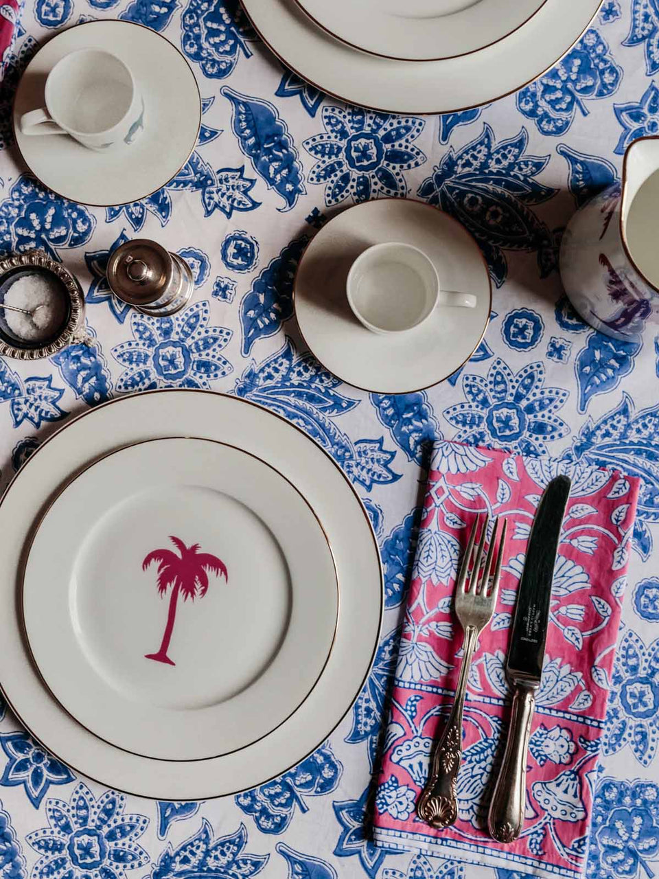 ROBERTA JAL TABLECLOTH IN BLUE