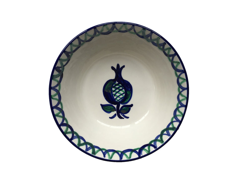 LARGE BOWL (LEBRILLO) - GREEN AND BLUE POMEGRANATE DESIGN WITH SCALLOP DECORATION