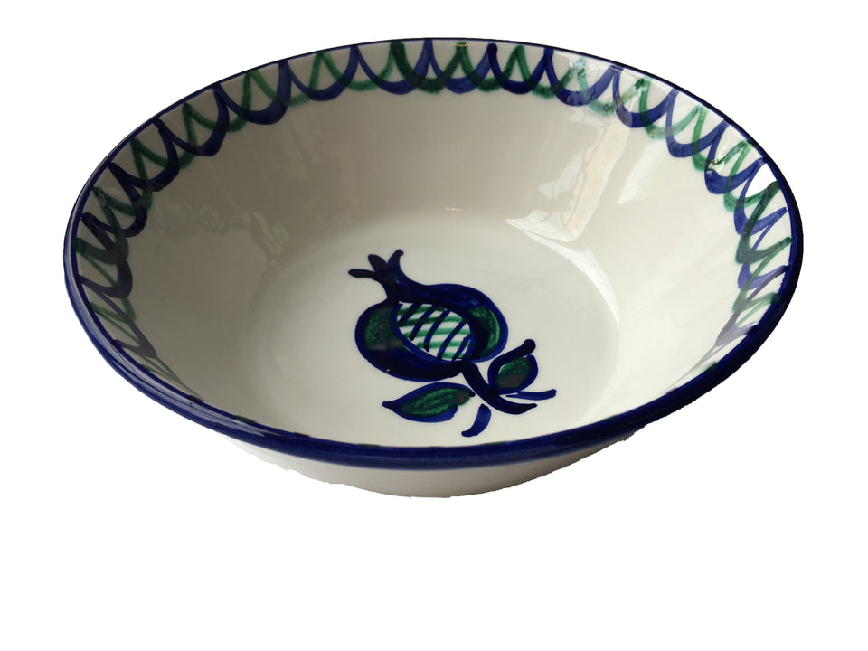 MEDIUM BOWL - GREEN AND BLUE POMEGRANATE DESIGN