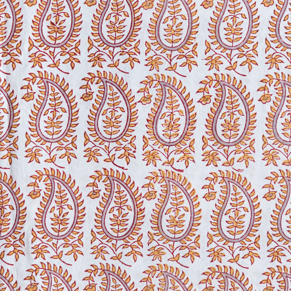 BLOCK PRINT CUSHION IN GITA PAISLEY IN ORANGE/MAUVE