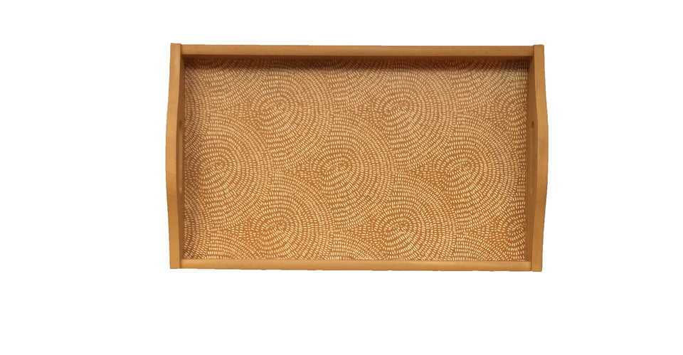 WOODEN DECOUPAGE TRAY - BURNT GOLD