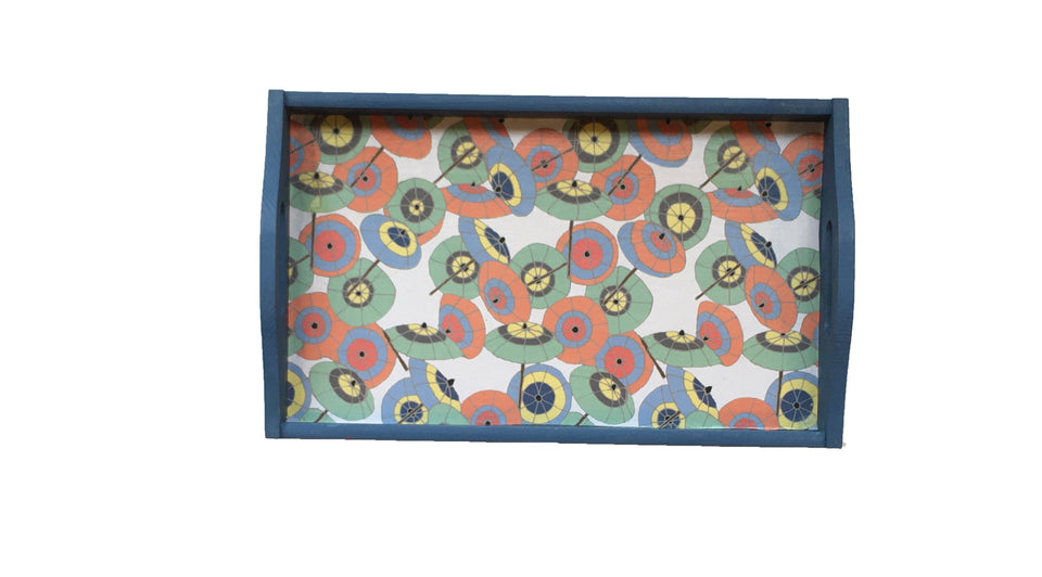 WOODEN DECOUPAGE TRAY - BLUE WITH UMBRELLA PATTERN
