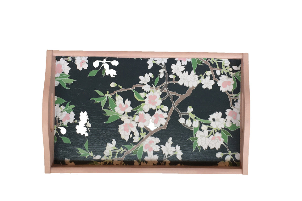 WOODEN DECOUPAGE TRAY - PINK BLOSSOM