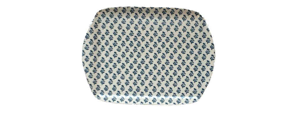 MELAMINE TRAY - SMALL TREE PATTERN, BLUE