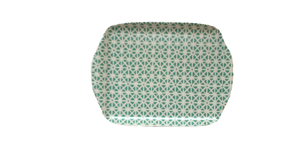 MELAMINE TRAY - SUNFLOWER PATTERN, AQUA