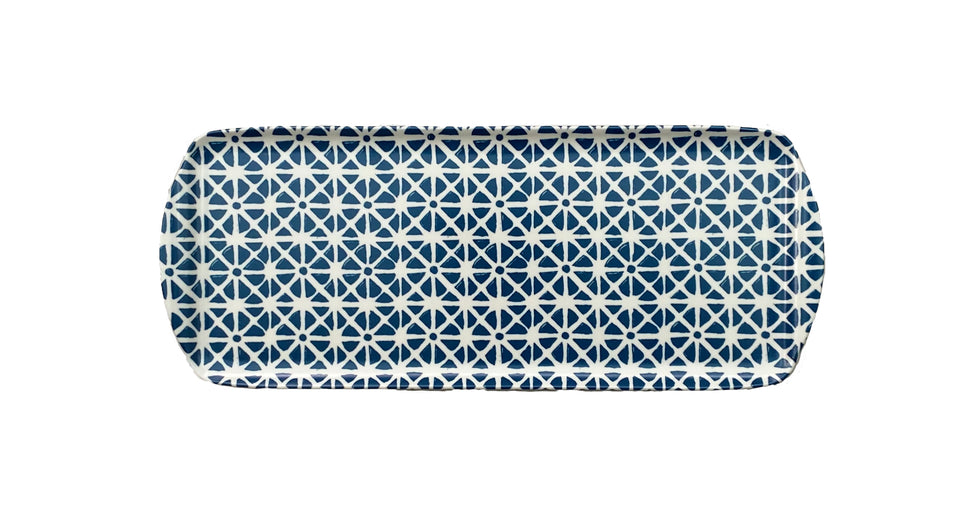 MELAMINE TRAY - SUNFLOWER PATTERN, BLUE