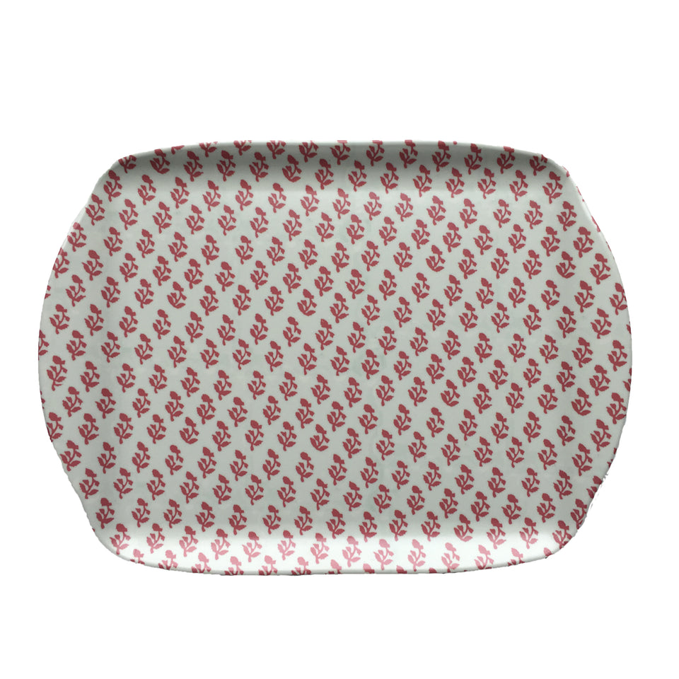 MELAMINE TRAY - SMALL TREE PATTERN, PINK