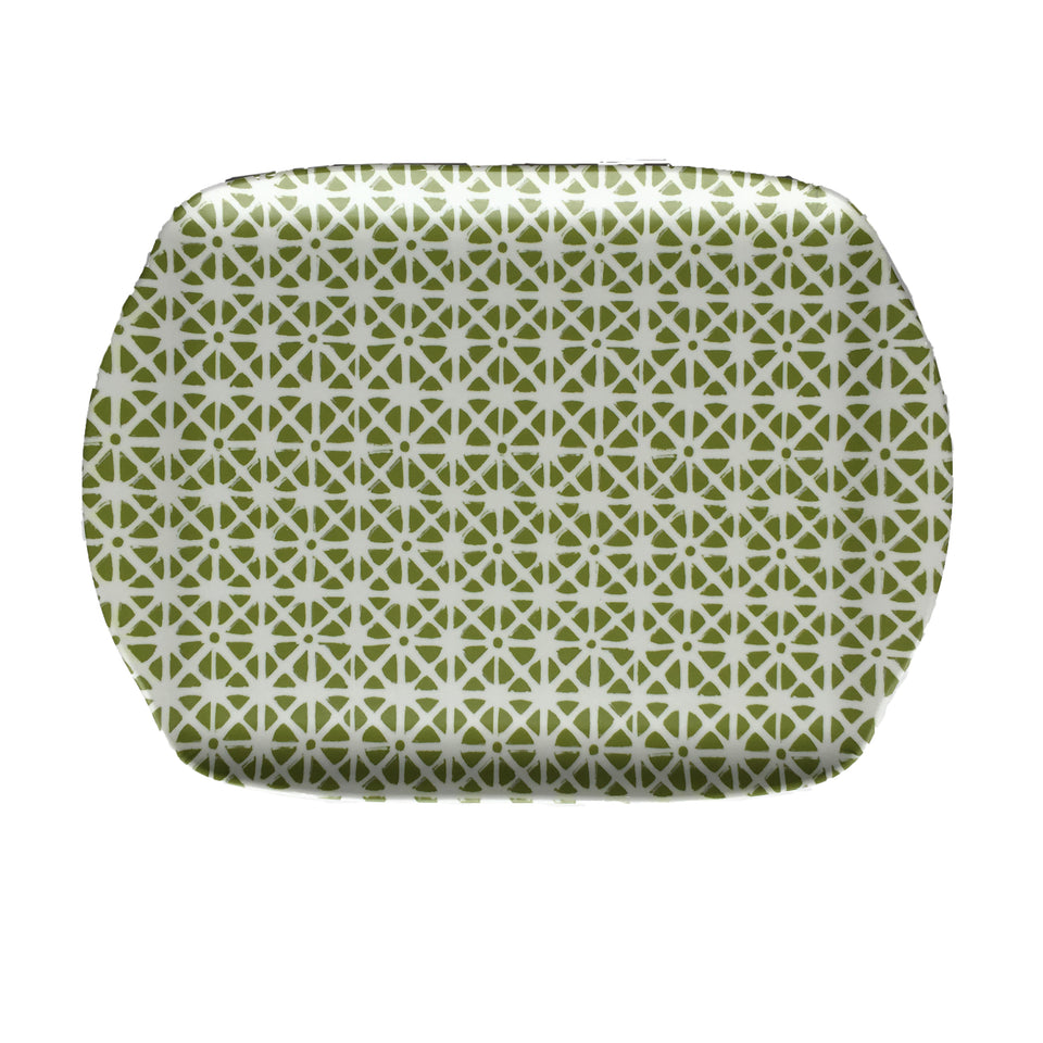 MELAMINE TRAY - SUNFLOWER PATTERN, GREEN