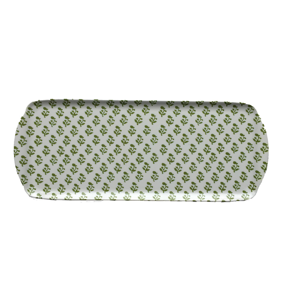 MELAMINE TRAY - SMALL TREE PATTERN, GREEN