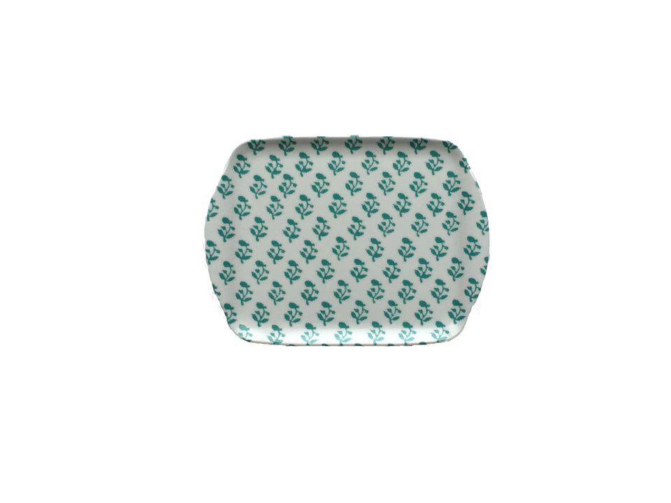 MELAMINE TRAY - SMALL TREE PATTERN, AQUA