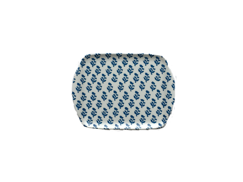 MELAMINE TRAY - SMALL SIZE IN SMALL TREE PATTERN, BLUE