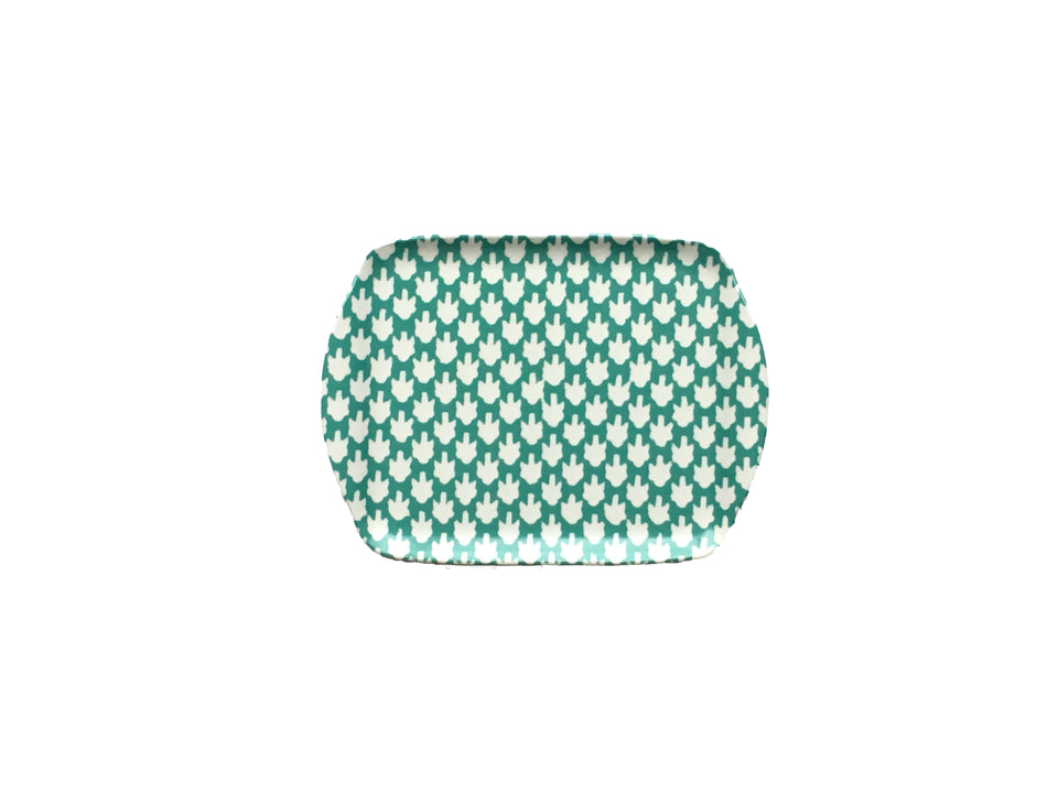MELAMINE TRAY - CHICKEN FEET PATTERN, AQUA