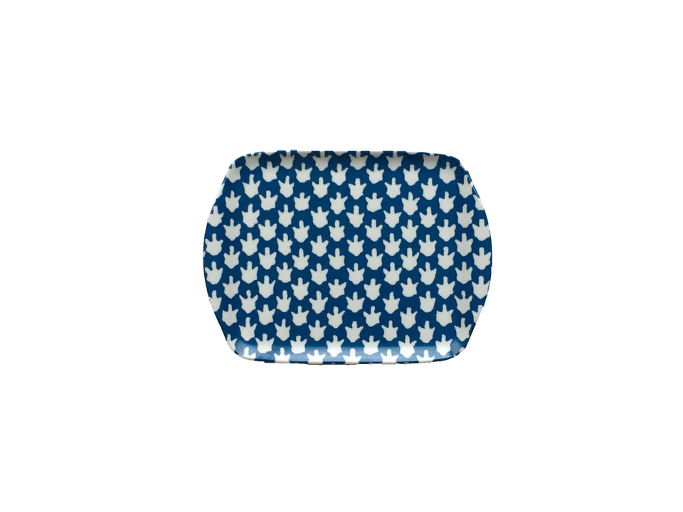 MELAMINE TRAY - CHICKEN FEET PATTERN, BLUE