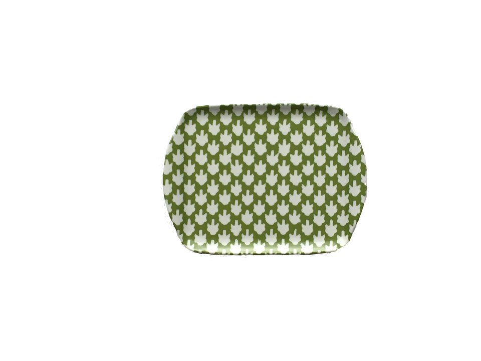 MELAMINE TRAY - CHICKEN FEET PATTERN, GREEN