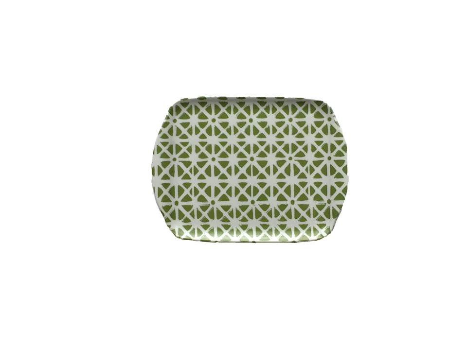 MELAMINE TRAY - SMALL SIZE IN SUNFLOWER PATTERN, GREEN