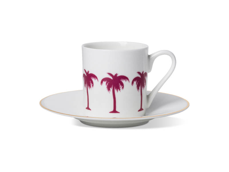PALMTREE ESPRESSO CUP & SAUCER WITH GOLD RIM